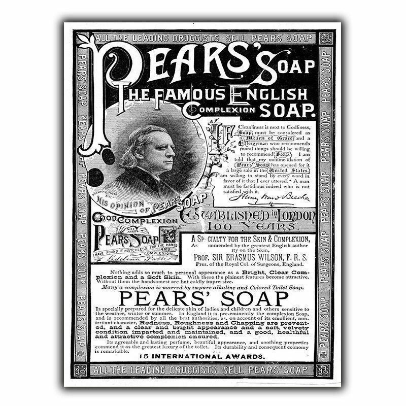 PEARS SOAP METAL SIGN WALL PLAQUE Vintage Bathroom Kitchen
