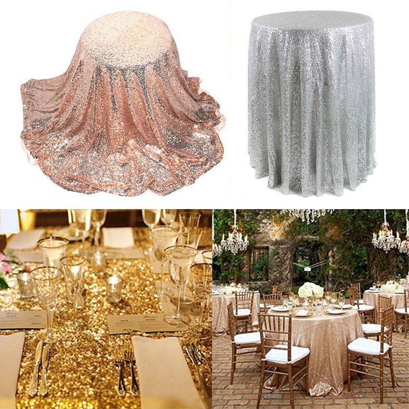80cm Sequin Tablecloth Round Designed Wedding Festival ...
