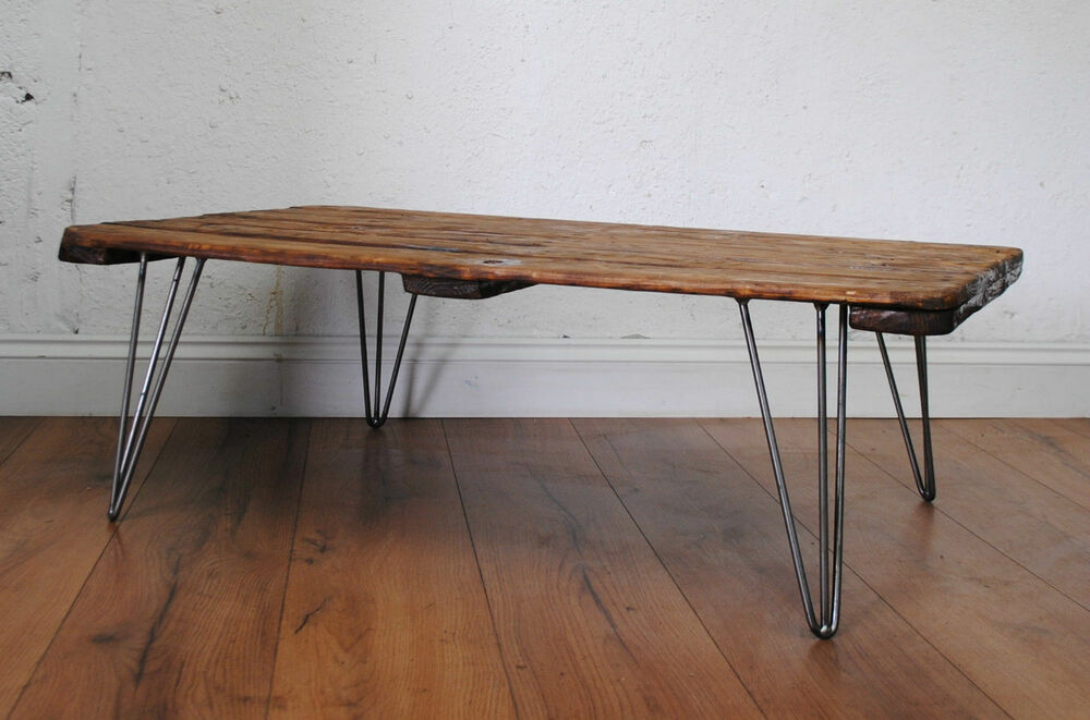 Retro Vintage Hairpin Legs Midcentury Coffee Table Industrial Furniture Ebay