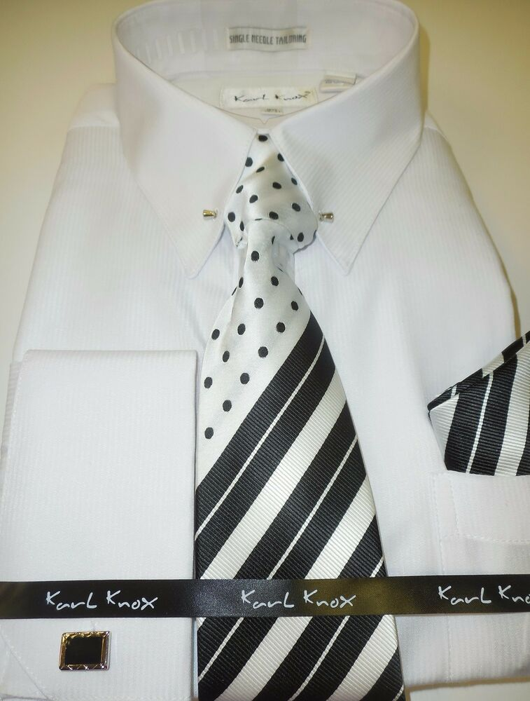 Mens White Designer French Cuff Dress Shirt With Fancy
