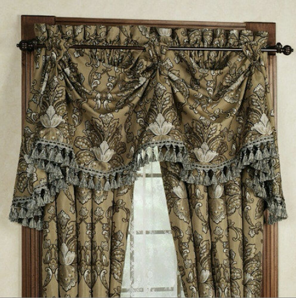 J Queen New York Tosca Pole Top Drapes Patriot Valance Taupe 5pc Set 84 Ebay