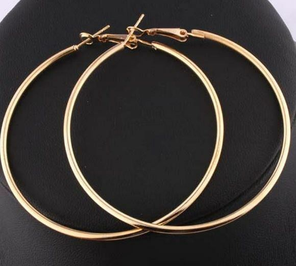 large gold hoop earrings solid 18k real yellow gold ebay. Black Bedroom Furniture Sets. Home Design Ideas