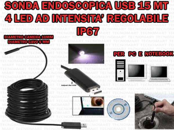 TELECAMERA ENDOSCOPICA SONDA PER ISPEZIONE USB 15 MT 4 LED IP67 PER PC NOTEBOOK