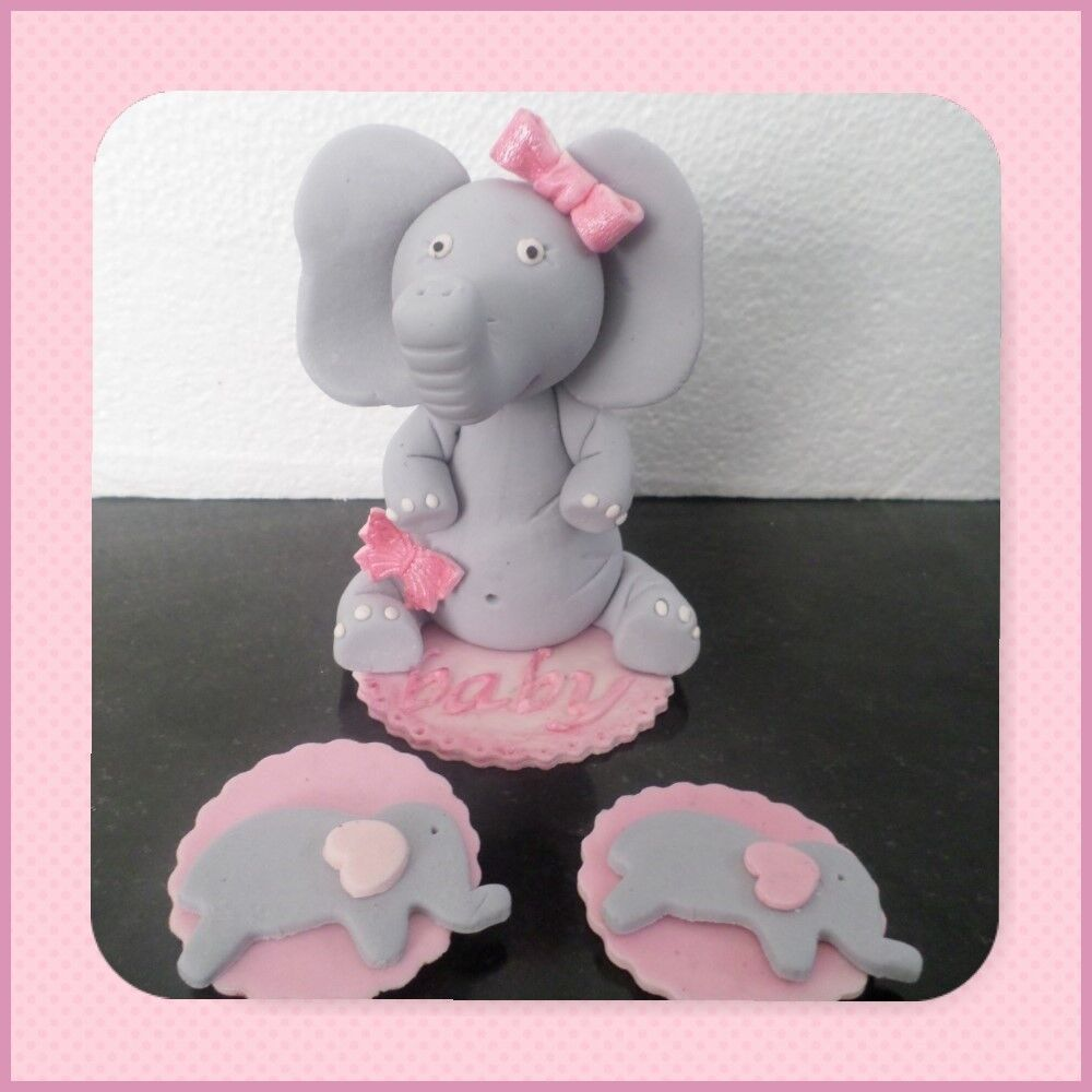 Baby Elephant with bow edible sugar cake/12 cupcake topper ...