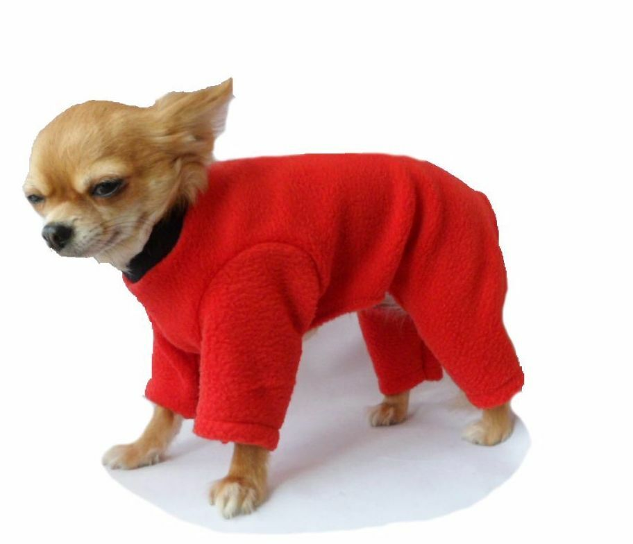 dog chihuahua onesie pyjamas pj fleece pullover xxs  l red