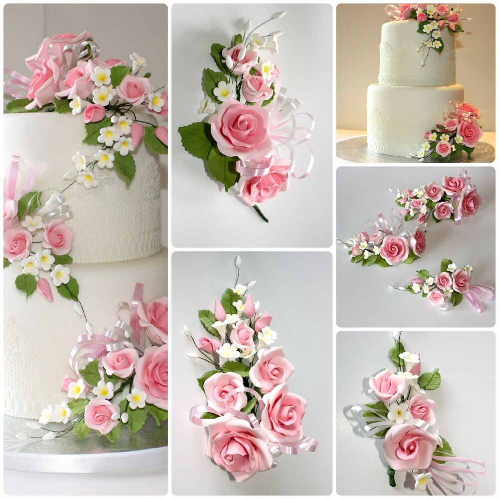 open rose spray pink s m l sugar flowers cake topper gum paste sugar paste ebay. Black Bedroom Furniture Sets. Home Design Ideas