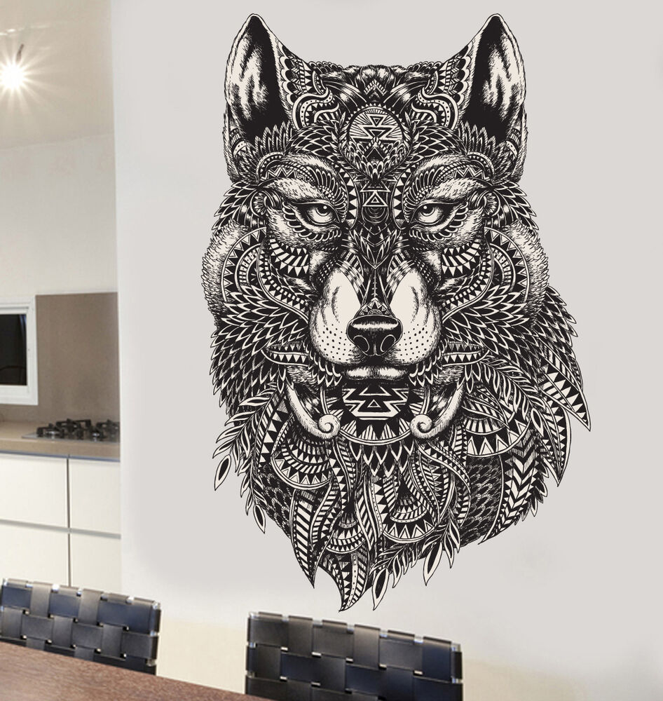 Detailed Decorative Wolf Wall Art Vinyl Stickers Decals
