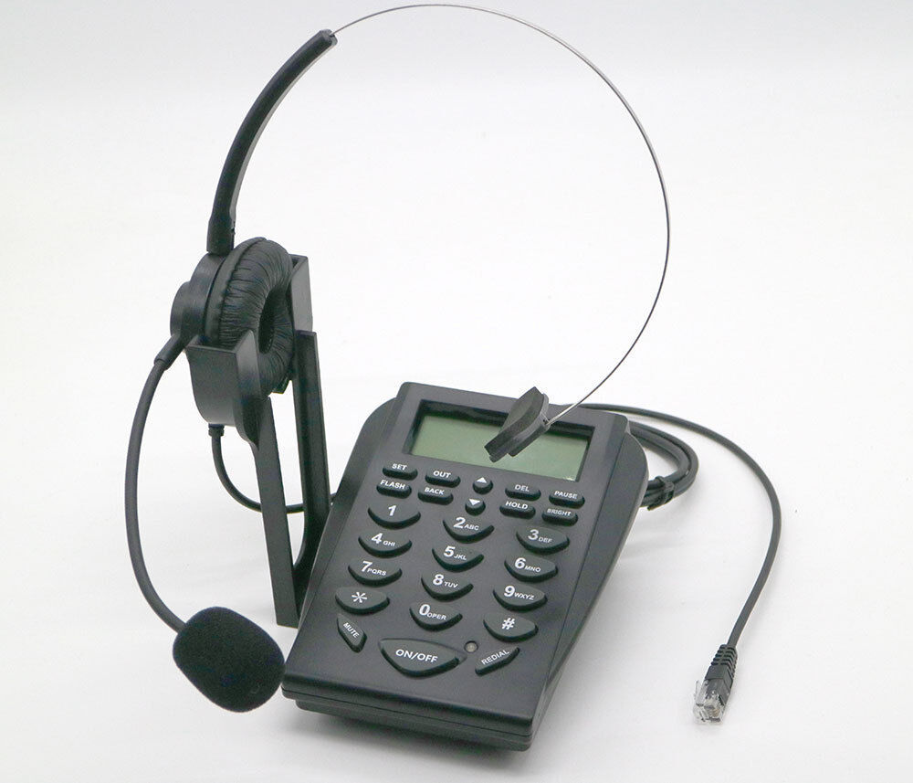 E05 LCD Office Telephone With Corded Headset Call Center