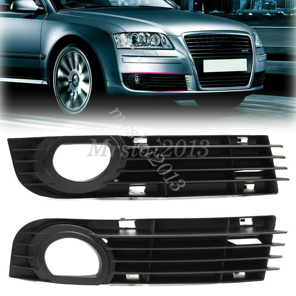 2x Front Bumper Grill Fog Light Lamp Grilles For Audi A8