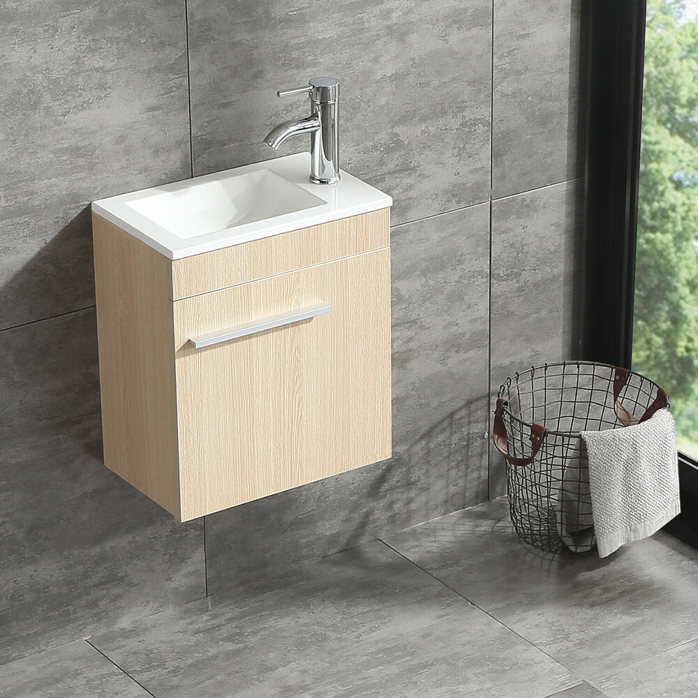 bathroom wall vanity cabinets 16 quot bathroom vanity wall mount cabinet combo wood color ebay 17174