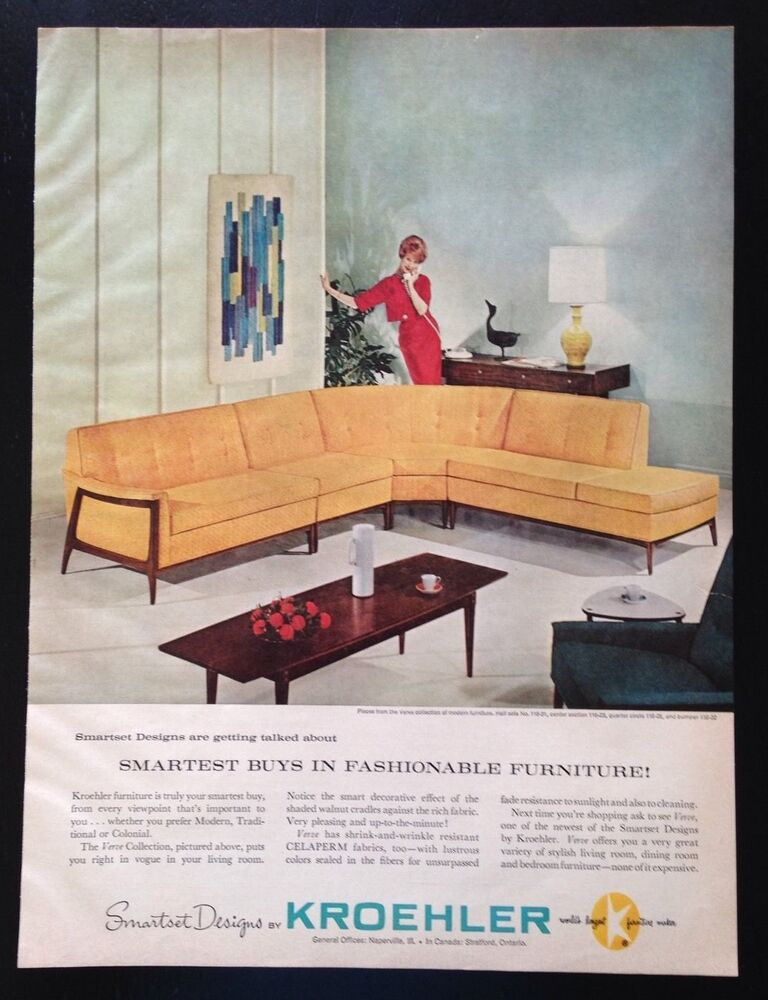 kroehler verve collection furniture sofa couch living room vintage print ad ebay - Kroehler Furniture