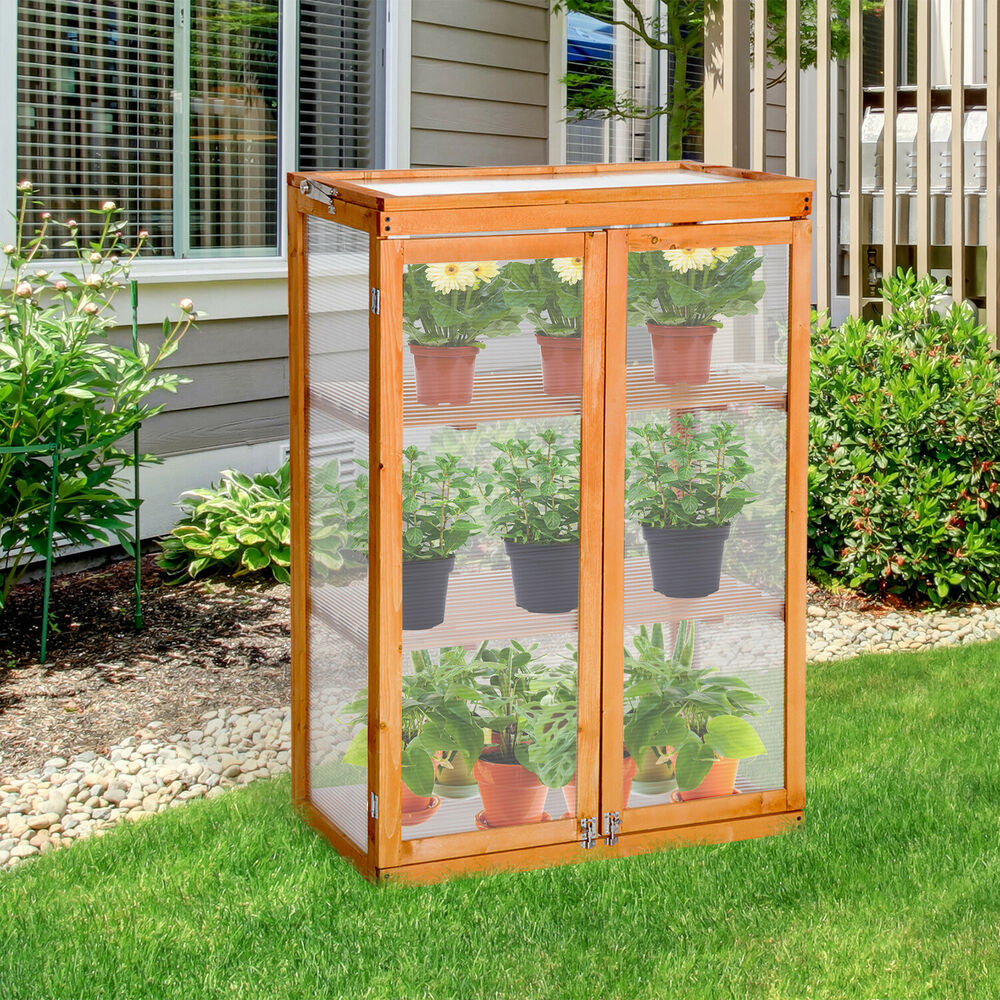 Outsunny 2 shelves wooden cold frame grow house greenhouse for Inexpensive greenhouse shelving wood