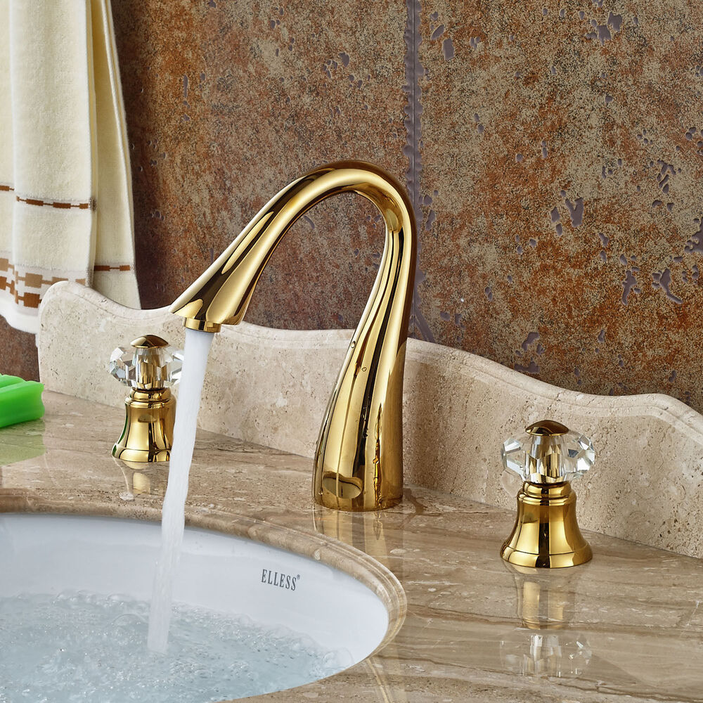Gold Brass Widespread 3pcs Bathroom Sink Faucet Crystal