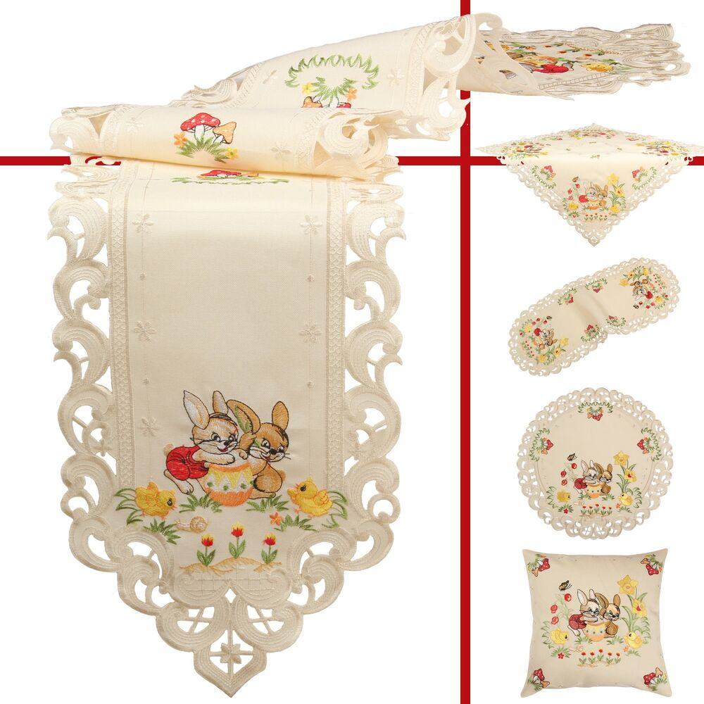 Easter Bunny Flower Tulip Embroidery Table runner  : s l1000 from www.ebay.com size 1000 x 1000 jpeg 120kB