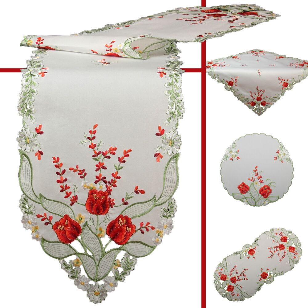 Red Tulip Flower Embroidery Table Runner Tablecloth Doily