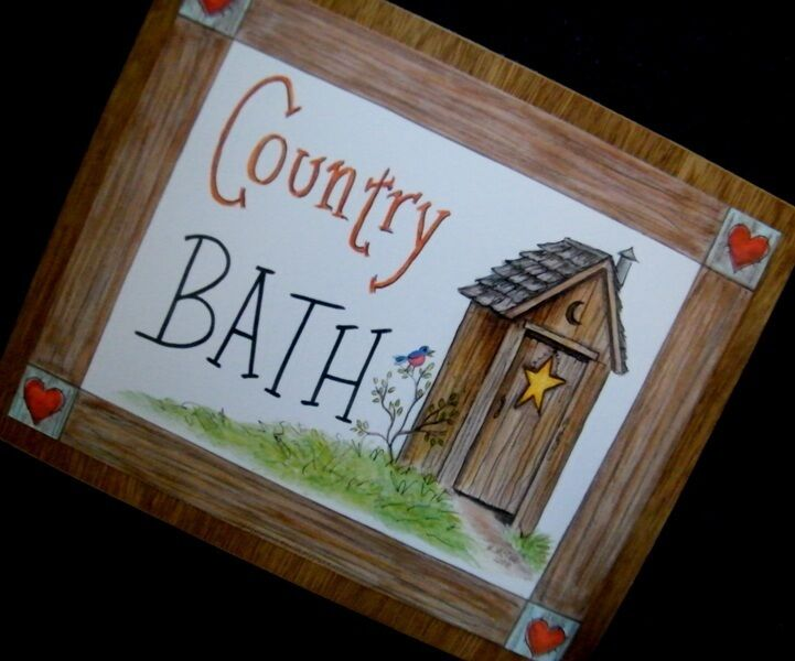 "9x11"" Wood Primitive Rustic Outhouse Country Bath Bathroom"