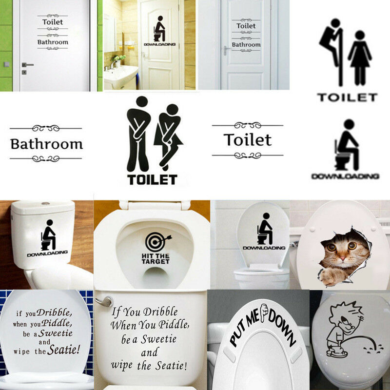 Removable wall stickers bathroom decor toilet door sign for Bathroom decor stickers