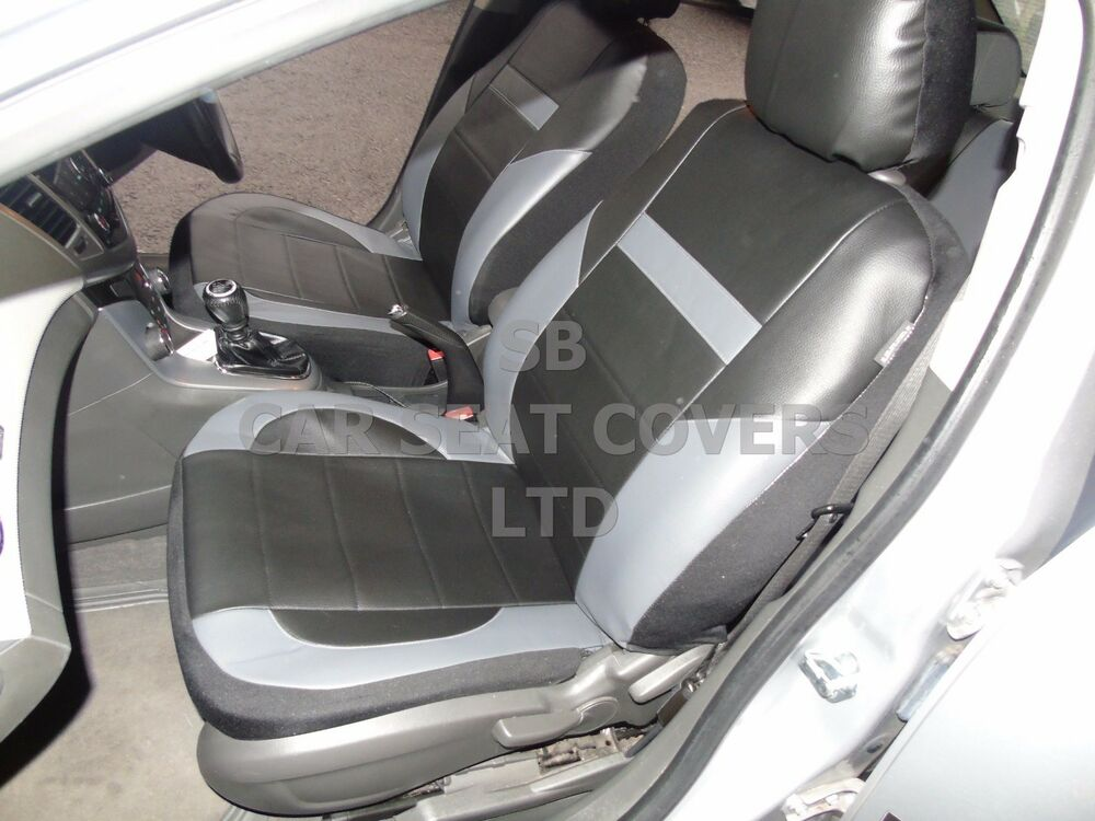 i to fit a mini cooper d car seat covers pvc leather black grey ebay. Black Bedroom Furniture Sets. Home Design Ideas