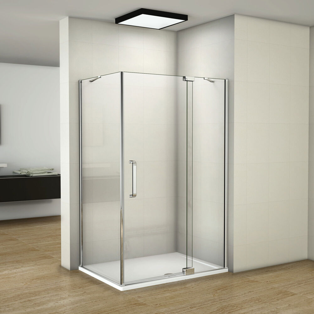 Aica frameless pivot walk in shower door enclosure tray 8mm glass screen cubicle ebay - Walk in glass shower enclosures ...