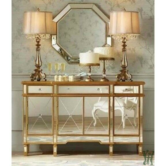 Console 3 Drawers 4 Doors Gold And Mirrored Powell
