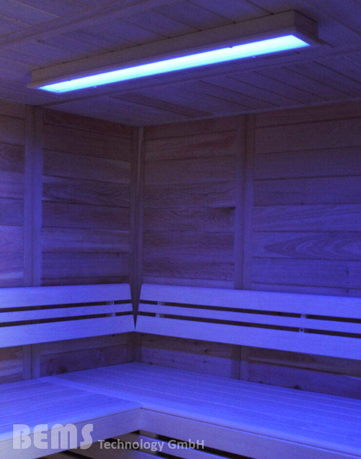 led sauna farblicht beleuchtung rgb f r sauna und infrarotkabinen lumina xl ebay. Black Bedroom Furniture Sets. Home Design Ideas