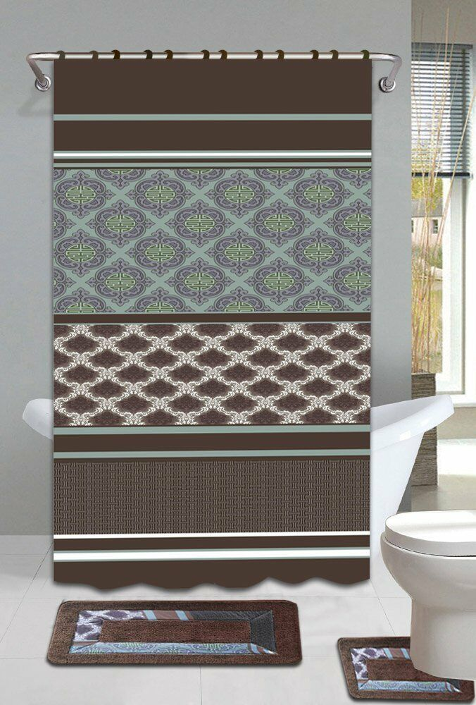 brown blue 15 bathroom accessory set 2 bath