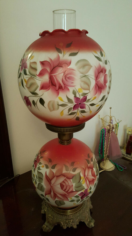 Antique Parlor Gone With The Wind Gwtw Hurricane Lamp Pink