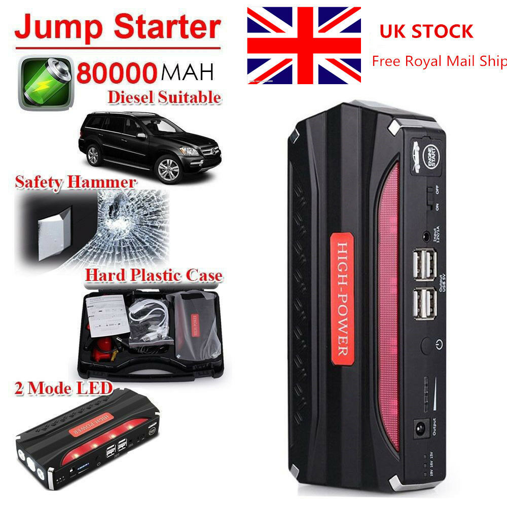 80000mah car jump starter pack booster battery charger 4 usb power bank uk ebay. Black Bedroom Furniture Sets. Home Design Ideas