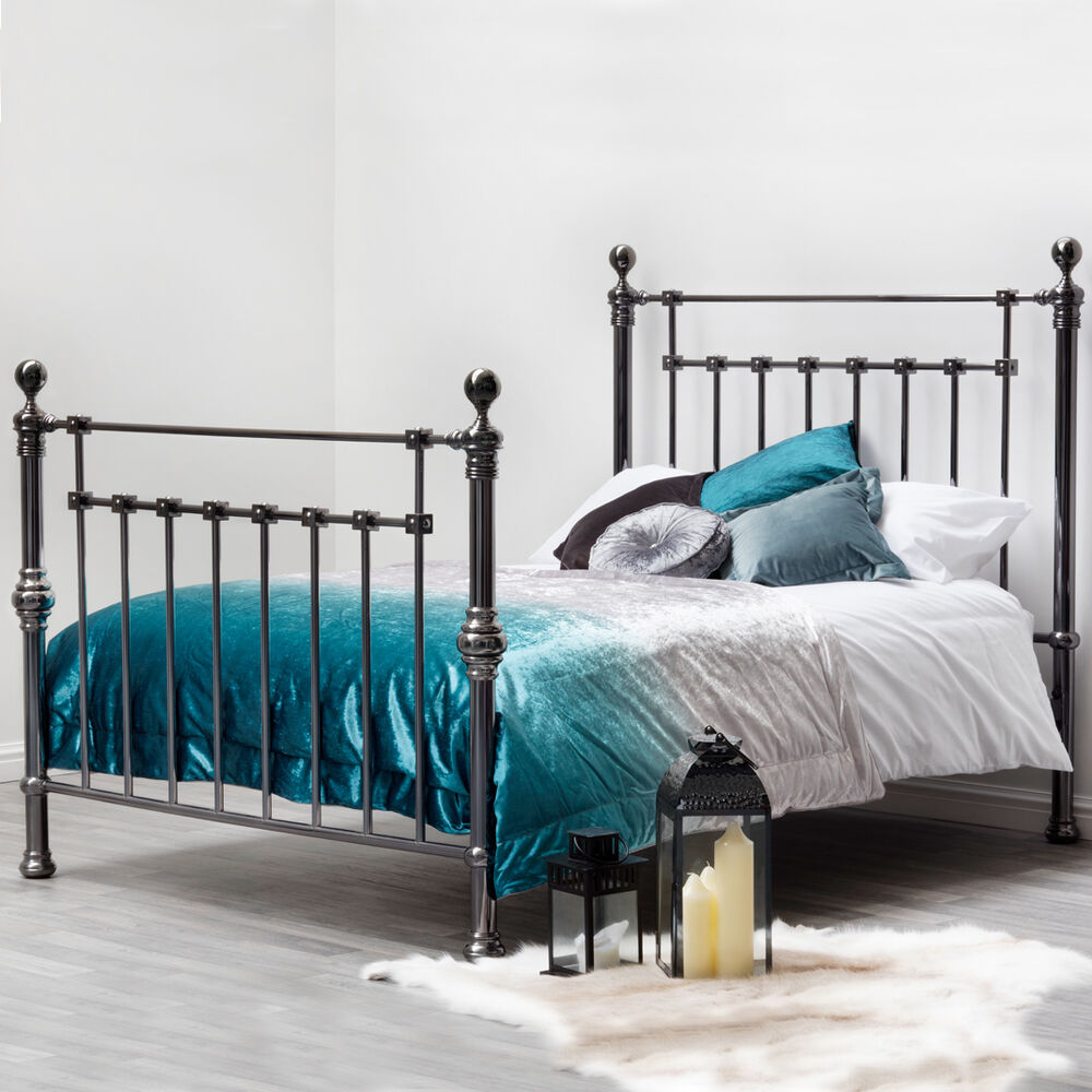 Luxury victorian black nickel metal bed frame double king for Exotic bed frames