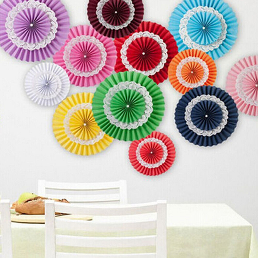 Hanging tissue paper fanflower fan wedding birthday party for Background decoration