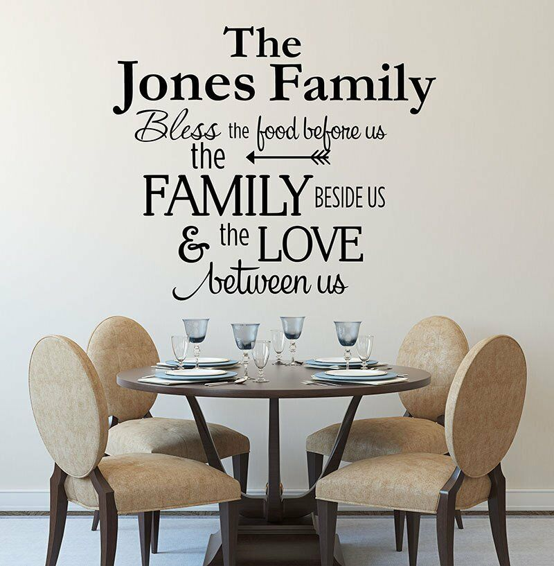 Kitchen Decor Quotes: BLESS THE FOOD BEFORE US PERSONALIZED FAMILY NAME Kitchen