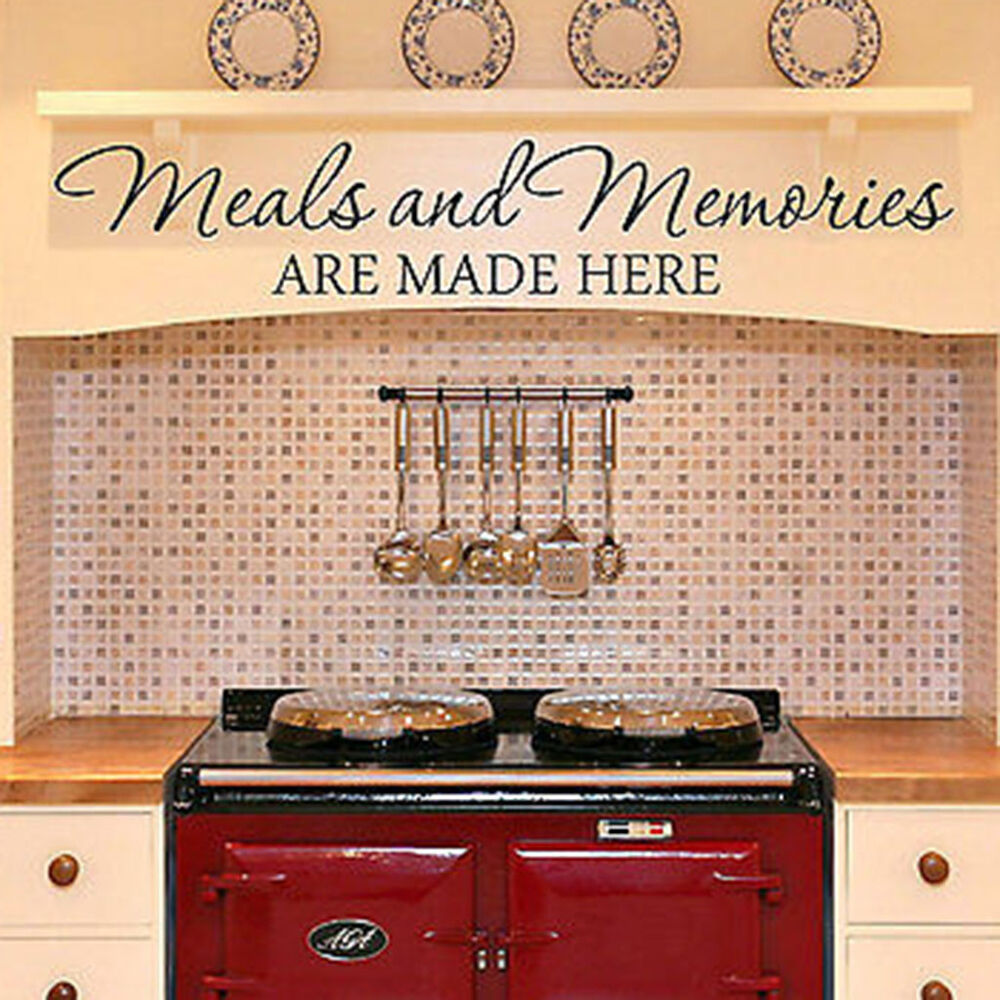 MEALS AND MEMORIES ARE MADE HERE Kitchen Diner Quote Vinyl ...
