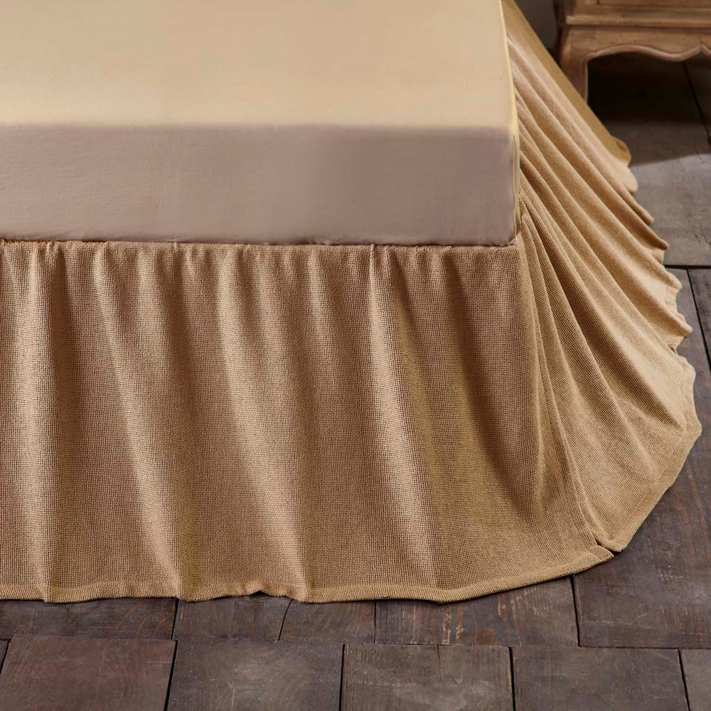 burlap natural ruffled queen bedskirt dust ruffle rustic primitive skirt cotton ebay. Black Bedroom Furniture Sets. Home Design Ideas