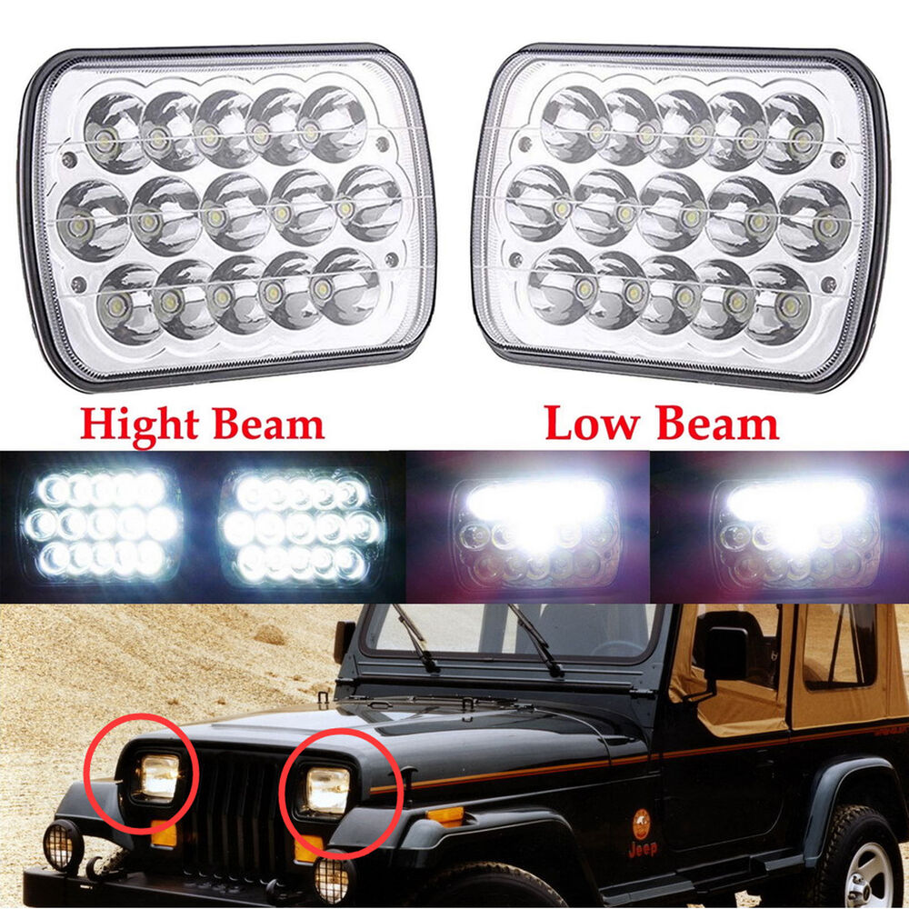 2x For 86 95 Jeep Wrangler Yj Led Projector Headlights