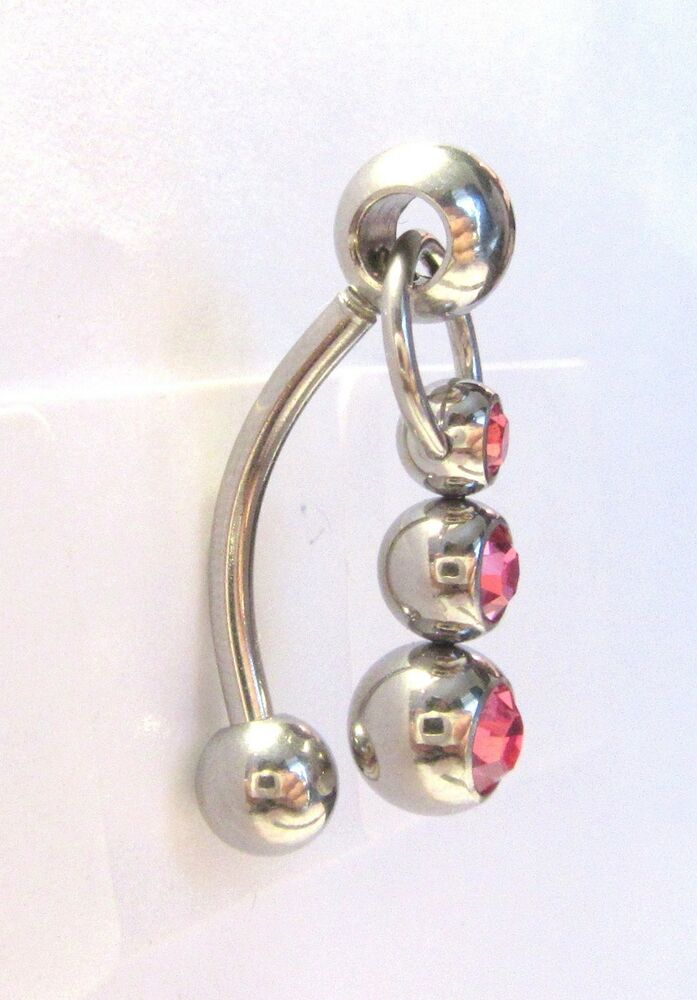 pink crystal balls dangle bar vch jewelry clit clitoral
