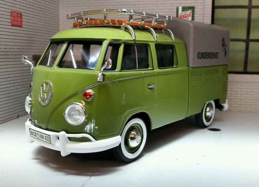 lgb 1 24 scale vw t1 split screen double cab rack canvas diecast model van 1962 ebay. Black Bedroom Furniture Sets. Home Design Ideas
