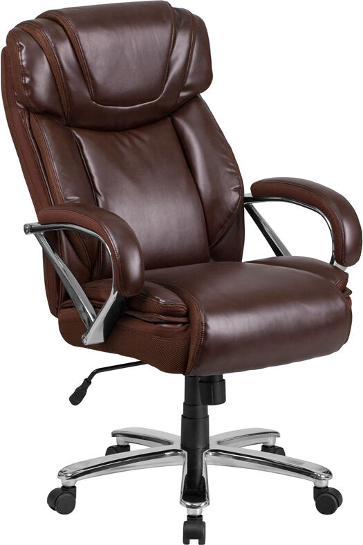 large brown leather chair 500lb capacity big amp tall brown leather executive office 16352 | s l1000