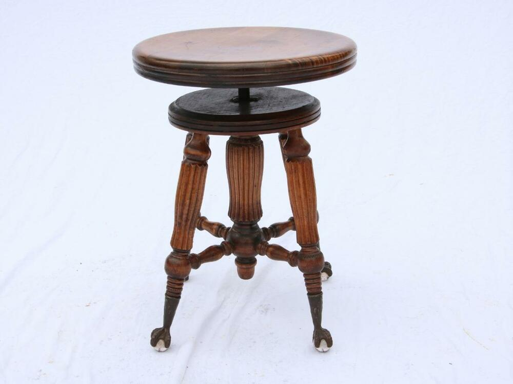 Antique Elavating Swivel Piano Stool Glass Ball Claw Feet