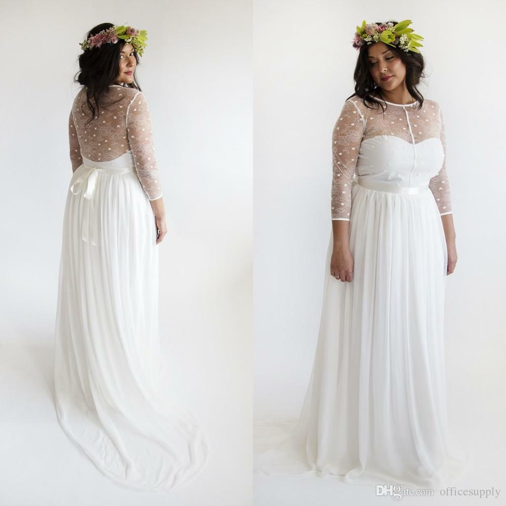 Plus Size Boho Wedding Dress 2017 Beach Jewel Neck Long