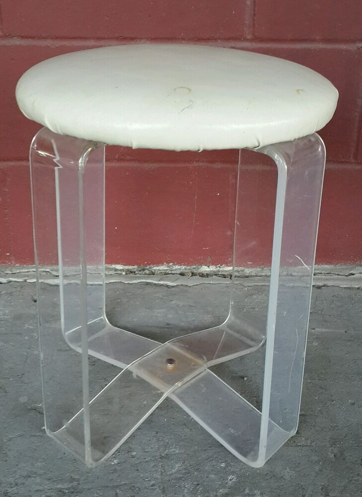 Vintage Mid Century X Base Lucite Acrylic Vanity Chair