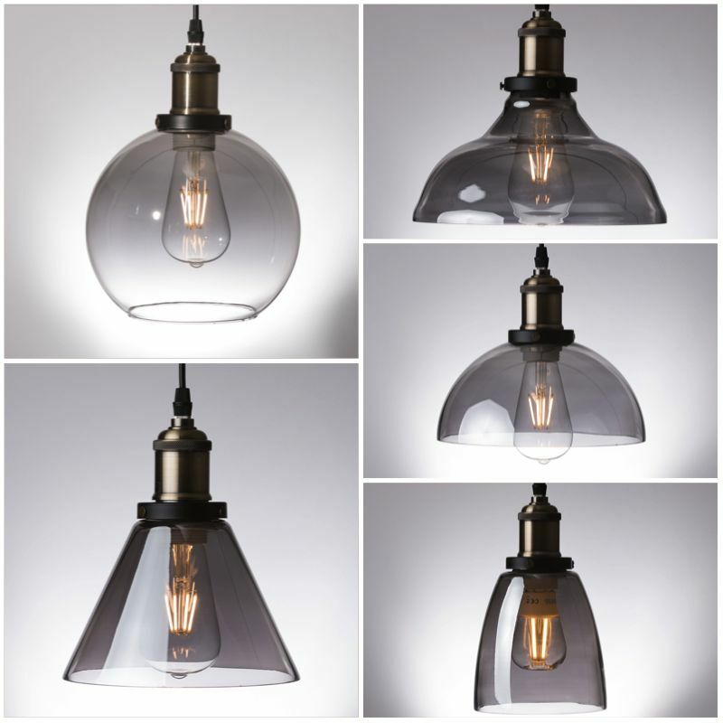 Vintage Industrial Glass Pendant Light: Smoke Glass Pendant Light Antique Vintage Industrial Loft