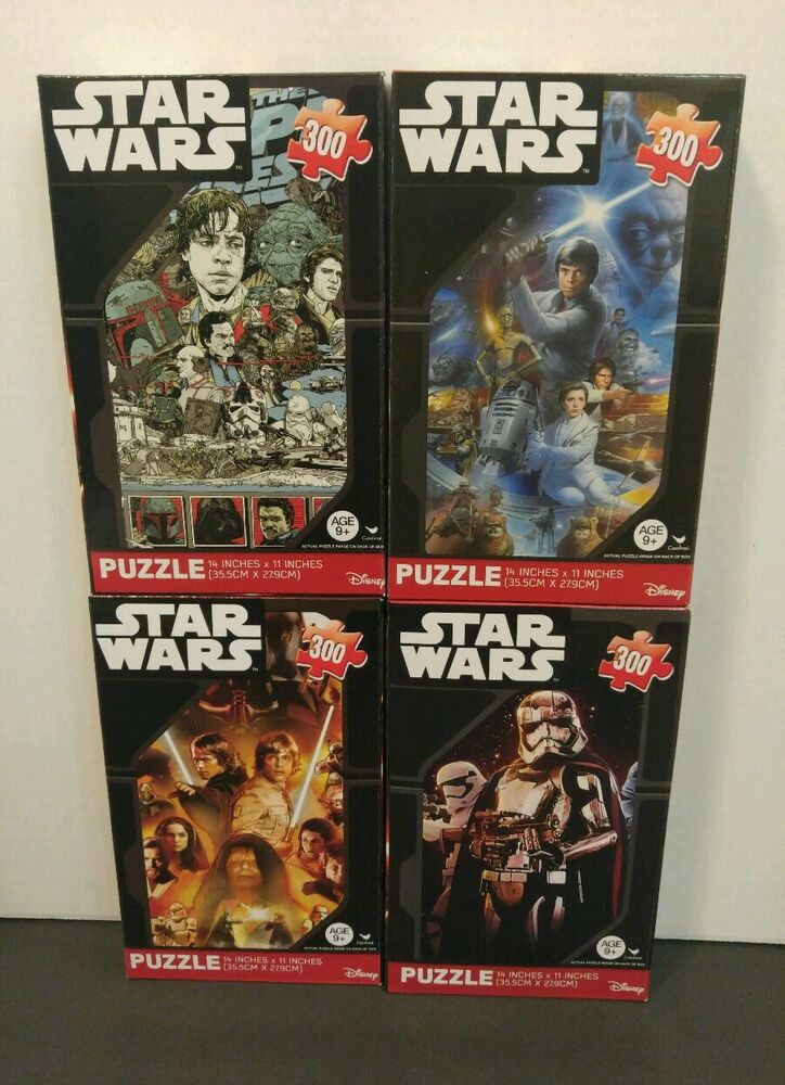 set of 4 star wars jigsaw puzzle movie poster collectors