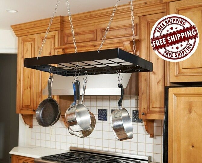 Pot Rack Holder Iron Kitchen Ceiling Pan Organizer Mount