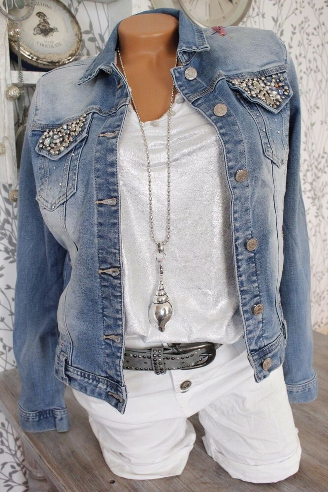 2017 jeansjacke jeans jacke italy style strass perlen nieten blau denim 36 44 ebay. Black Bedroom Furniture Sets. Home Design Ideas