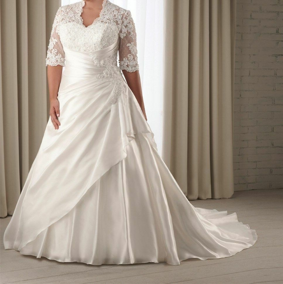 Vintage Half Sleeve Lace Chiffon Wedding Dress Pleated V