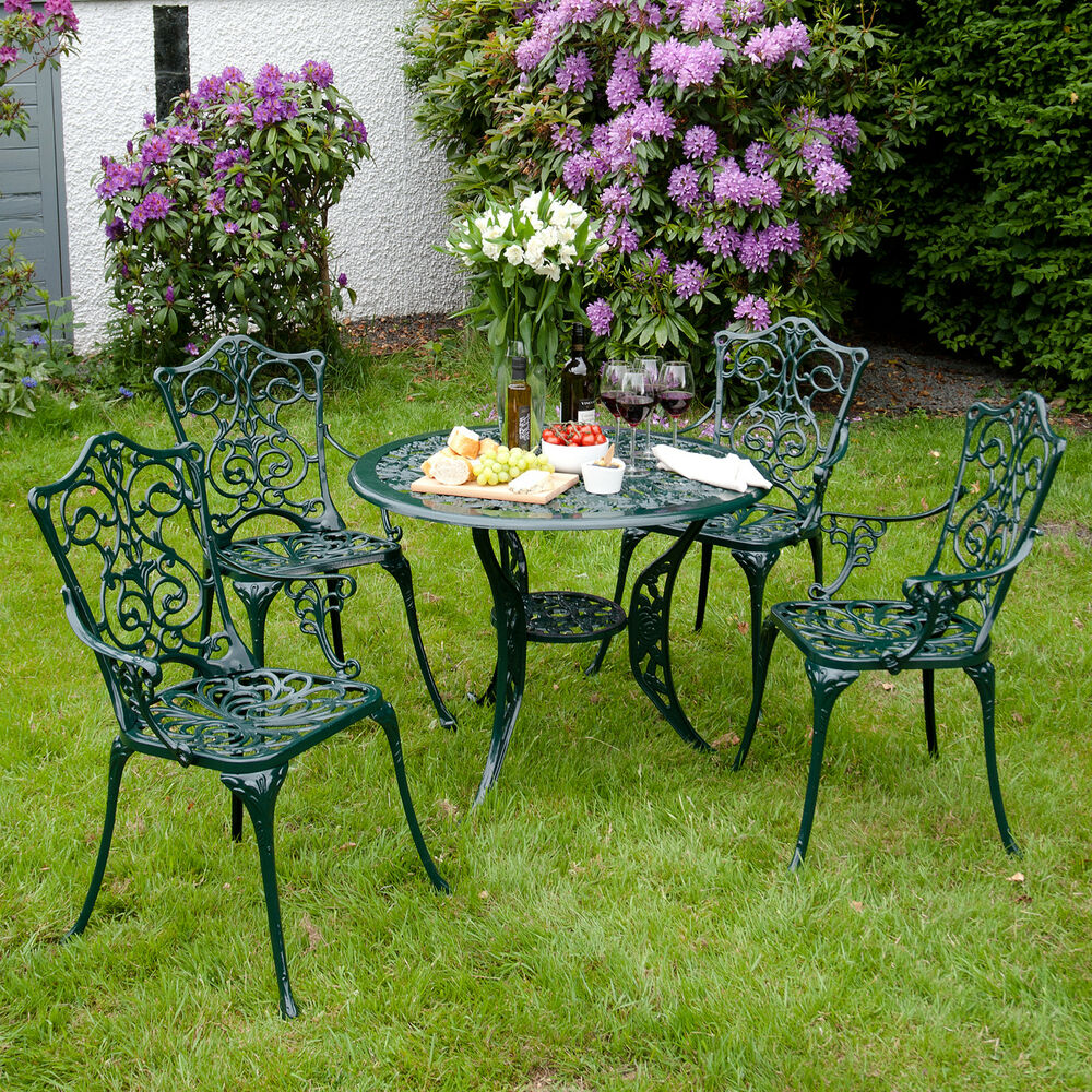 Outdoor Garden Furniture Aluminium 4 Armchair Table 90cm Round Metal Outdoor