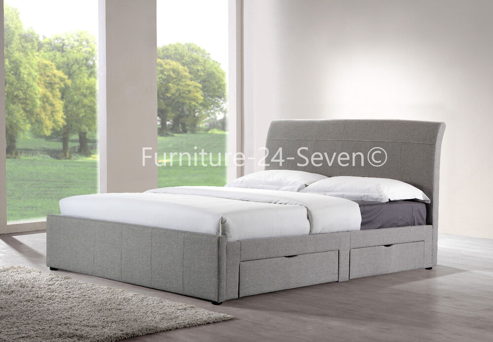 Grey fabric upholstered linen 4 drawer storage bed frame for Fabric bed frame with storage