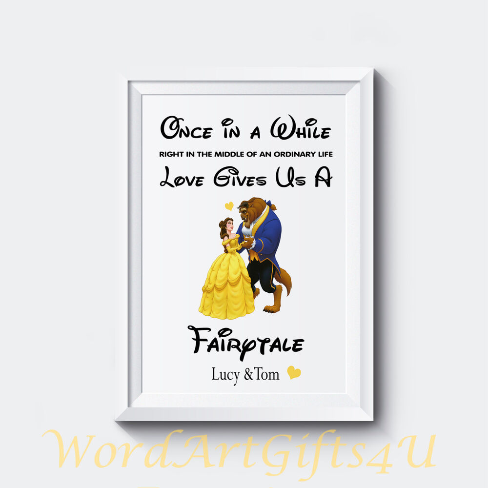 Disney Wedding Gift: PERSONALISED Engagement DISNEY Beauty And The Beast