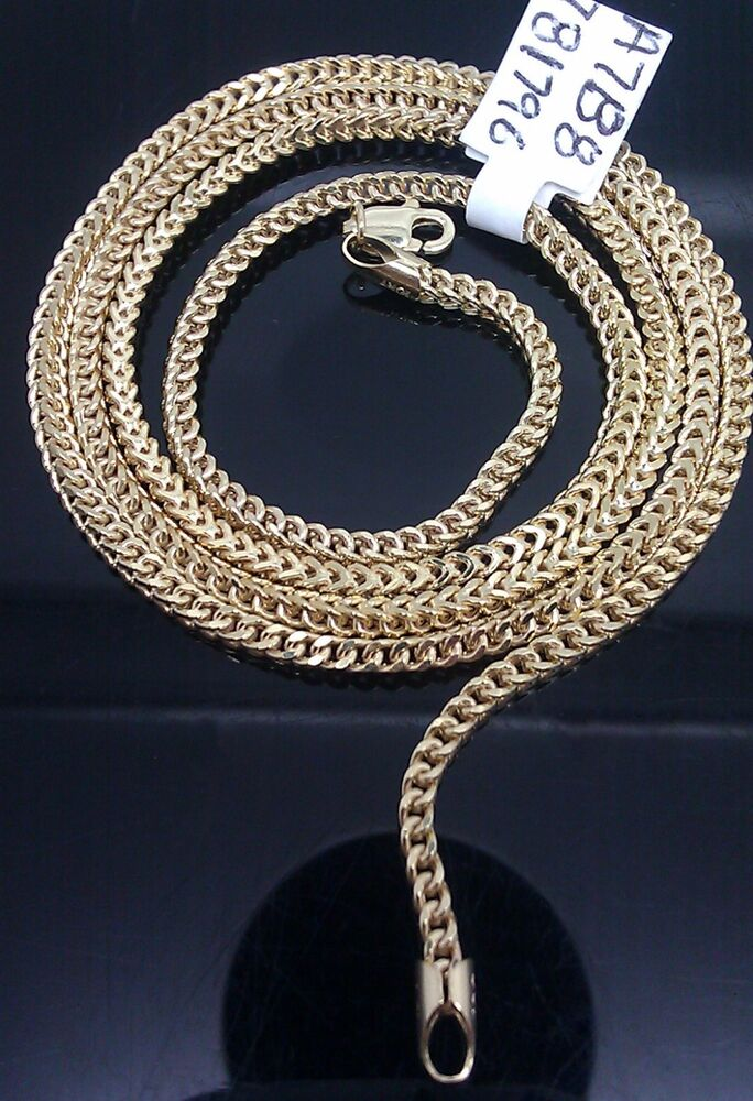 """Real 10k Yellow Gold Franco Chain Necklace 16"""" -24"""" Inch,Men's Women,Rope,Cuban 