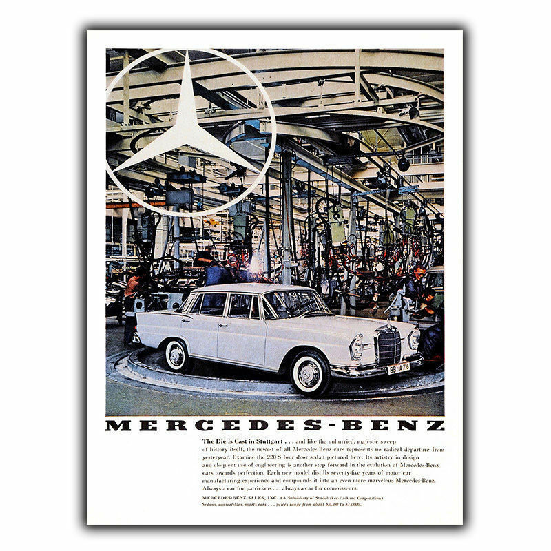 Mercedes 220s vintage retro car advert ad metal sign wall for Mercedes benz wall posters